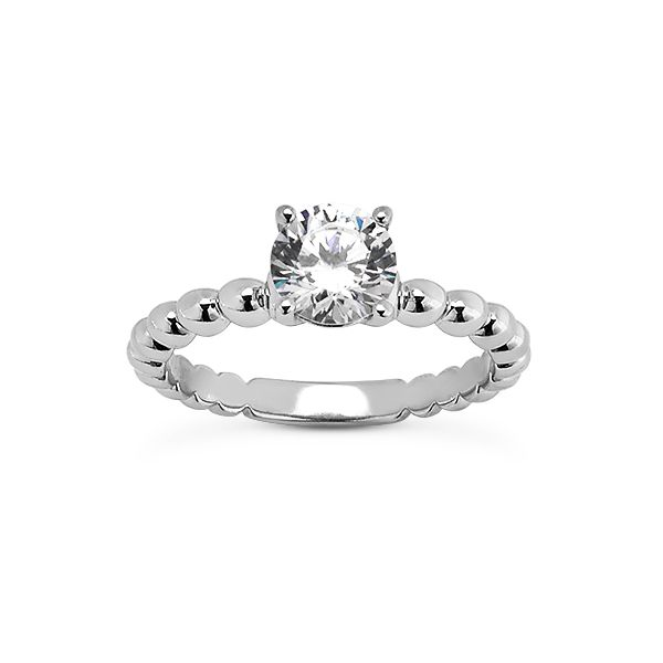 14KT WG Beaded Shank Engagement Ring The Ring Austin Round Rock, TX