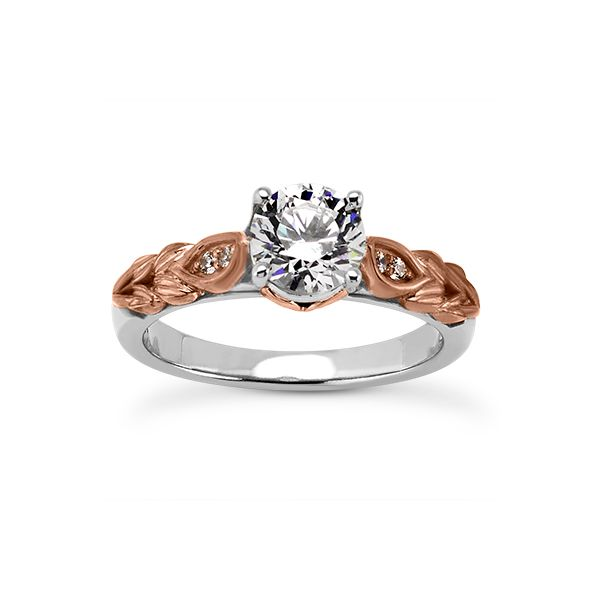 White and Rose Gold Fancy Engagement Ring The Ring Austin Round Rock, TX