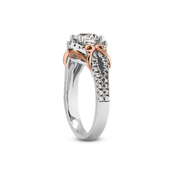 White and Rose Gold Fancy Engagement Ring Image 2 The Ring Austin Round Rock, TX