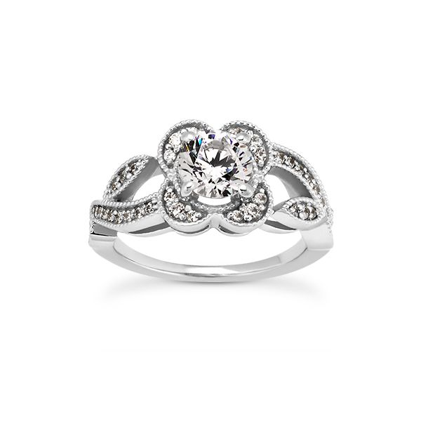 Flower and Leaf Motif Engagement Ring The Ring Austin Round Rock, TX