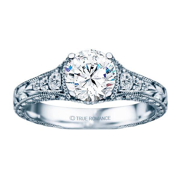 14k Wg 1 4 Ctw Vintage Milgrain Engraved Engagement Ring The Austin Round Rock