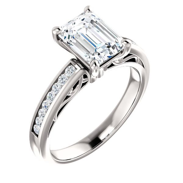 White Gold Engagement Ring with Emerald Cut Center and Channel sides The Ring Austin Round Rock, TX