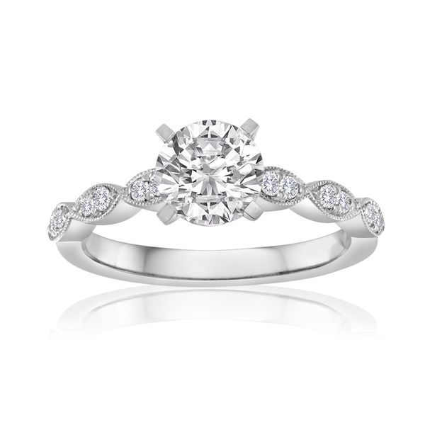 Pave Milgrain Engagement Semi Mount 1/6ctw The Ring Austin Round Rock, TX