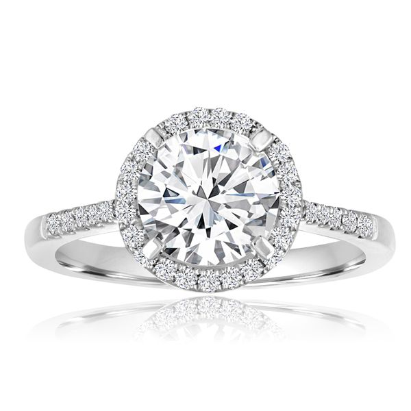 Round Halo Pave Engagement Semi Mount 1/5ctw The Ring Austin Round Rock, TX