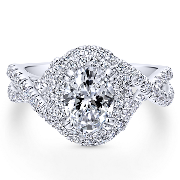 Modern engagement ring featuring two pave diamond halos looped around the oval cut center stone, plus a band of criss crossing d Image 2 The Ring Austin Round Rock, TX