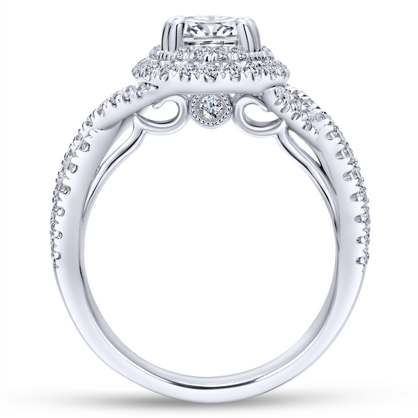 Modern engagement ring featuring two pave diamond halos looped around the oval cut center stone, plus a band of criss crossing d Image 3 The Ring Austin Round Rock, TX