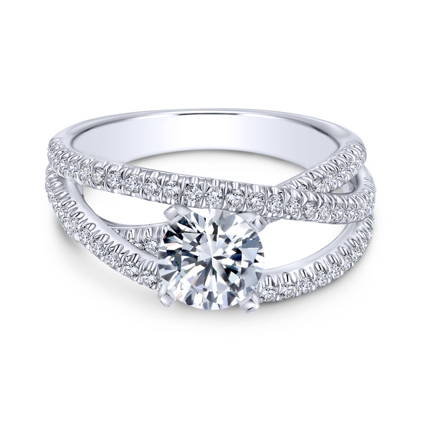 Free form engagement ring including three carefully designed diamond rows Image 2 The Ring Austin Round Rock, TX