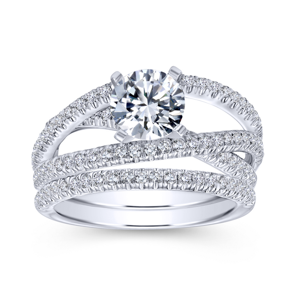Free form engagement ring including three carefully designed diamond rows Image 4 The Ring Austin Round Rock, TX