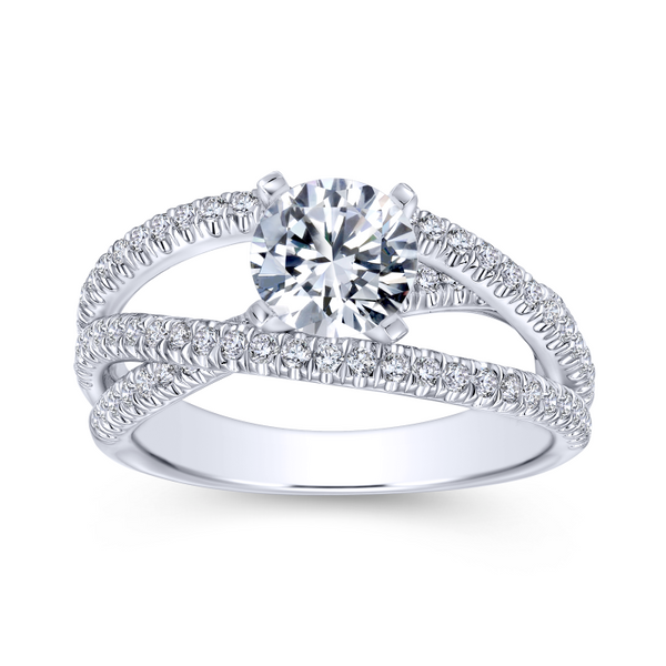 Free form engagement ring including three carefully designed diamond rows Image 5 The Ring Austin Round Rock, TX