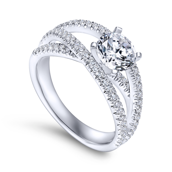 Free form engagement ring including three carefully designed diamond rows The Ring Austin Round Rock, TX