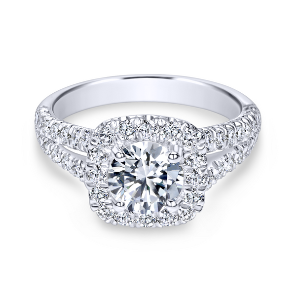 Diamond rows split toward the lavish halo in this white gold engagement ring Image 2 The Ring Austin Round Rock, TX