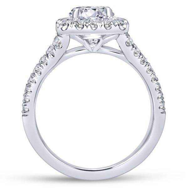 Diamond rows split toward the lavish halo in this white gold engagement ring Image 3 The Ring Austin Round Rock, TX