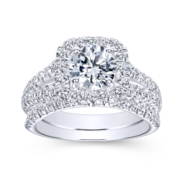 Diamond rows split toward the lavish halo in this white gold engagement ring Image 4 The Ring Austin Round Rock, TX