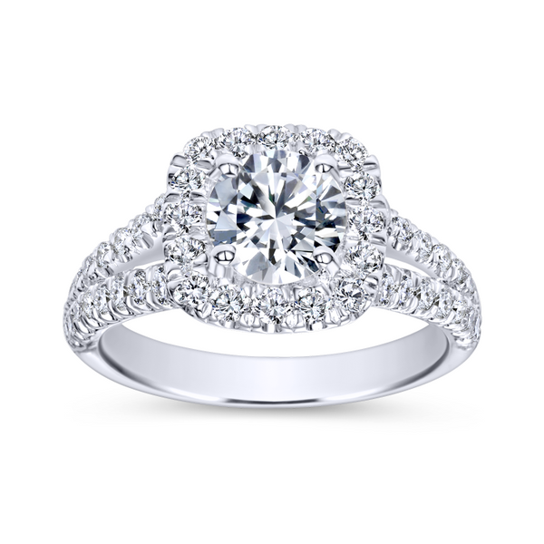 Diamond rows split toward the lavish halo in this white gold engagement ring Image 5 The Ring Austin Round Rock, TX
