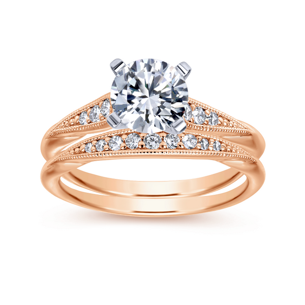 Tapered strings of graduated diamonds adorn the shoulders of a slim white gold band Image 4 The Ring Austin Round Rock, TX