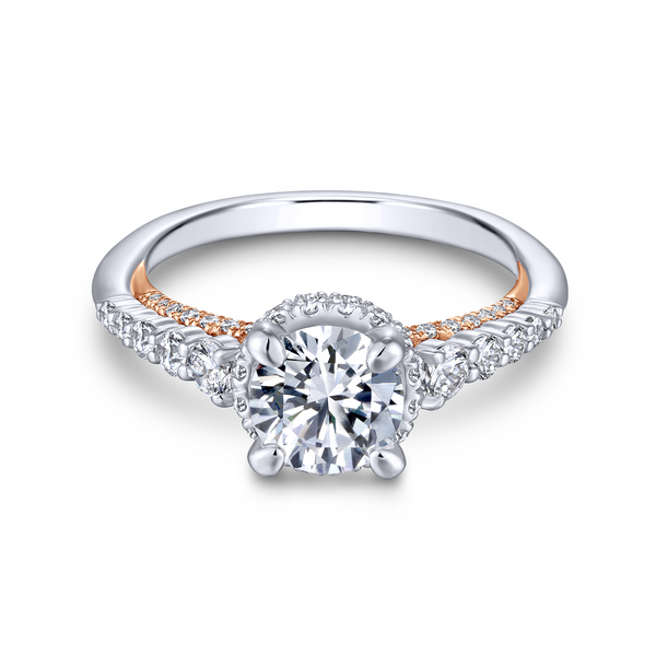 A string of graduated round diamonds adorns the reverse tapered band of this polished round cut engagement ring with a pop of ro Image 2 The Ring Austin Round Rock, TX