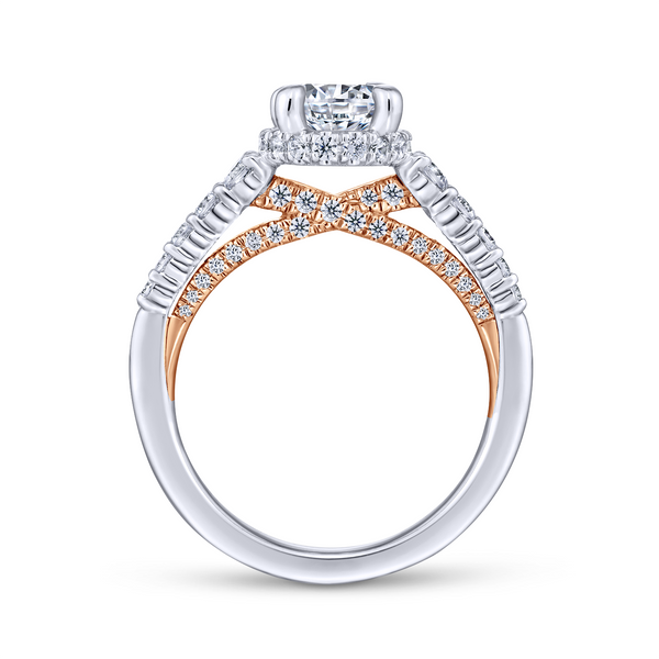 A string of graduated round diamonds adorns the reverse tapered band of this polished round cut engagement ring with a pop of ro Image 3 The Ring Austin Round Rock, TX