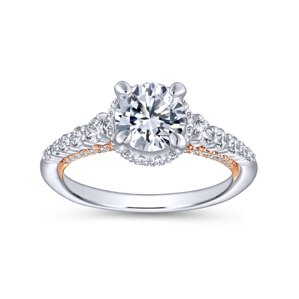 A string of graduated round diamonds adorns the reverse tapered band of this polished round cut engagement ring with a pop of ro Image 5 The Ring Austin Round Rock, TX
