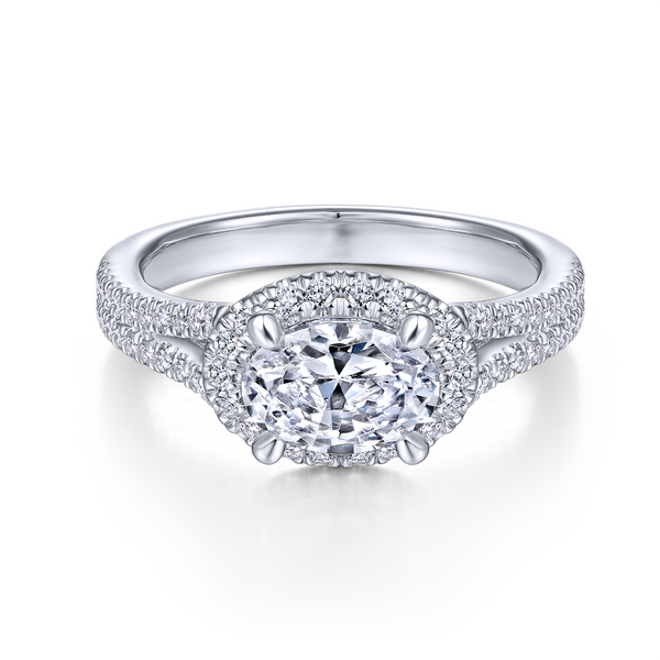 14k White Gold Oval Halo Diamond Semi Mount Image 2 The Ring Austin Round Rock, TX