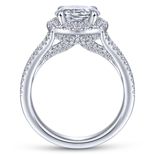 14k White Gold Oval Halo Diamond Semi Mount Image 3 The Ring Austin Round Rock, TX