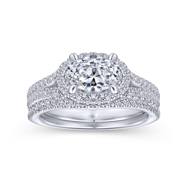 14k White Gold Oval Halo Diamond Semi Mount Image 4 The Ring Austin Round Rock, TX