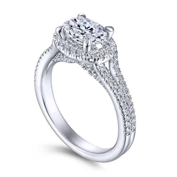 14k White Gold Oval Halo Diamond Semi Mount The Ring Austin Round Rock, TX
