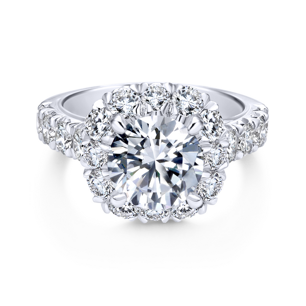 14k White Gold Round Halo Diamond Engagement Ring Image 2 The Ring Austin Round Rock, TX