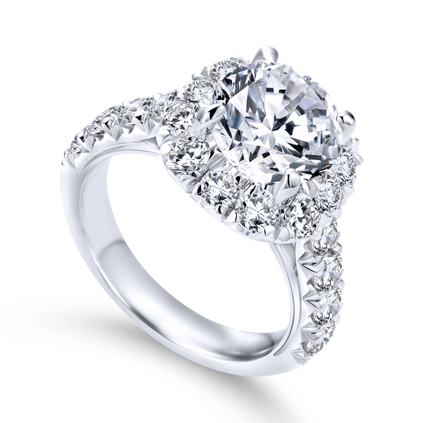 14k White Gold Round Halo Diamond Engagement Ring The Ring Austin Round Rock, TX