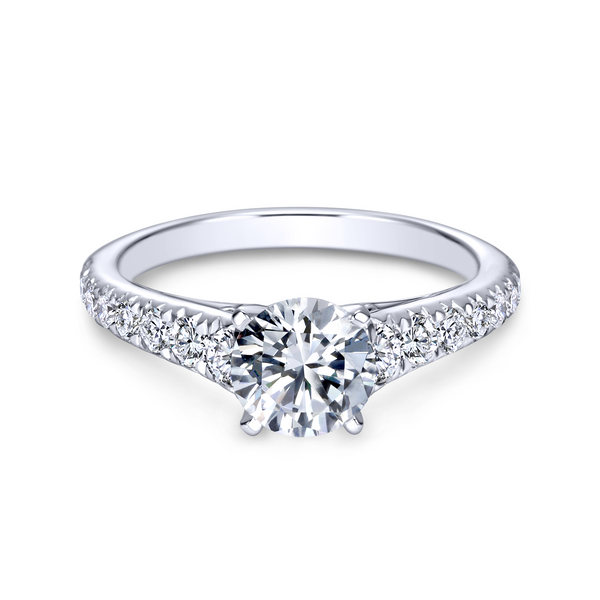 14K white gold contemporary engagement ring has a classic look with its straight styled band and graduated diamonds Image 2 The Ring Austin Round Rock, TX