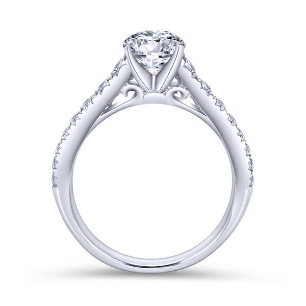 14K white gold contemporary engagement ring has a classic look with its straight styled band and graduated diamonds Image 3 The Ring Austin Round Rock, TX