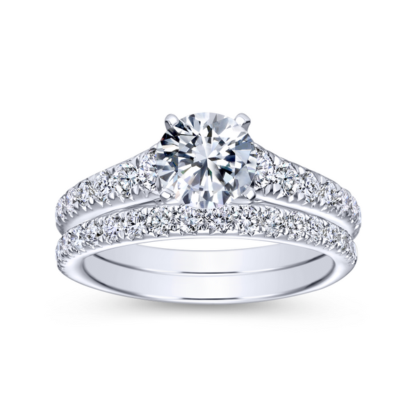 14K white gold contemporary engagement ring has a classic look with its straight styled band and graduated diamonds Image 4 The Ring Austin Round Rock, TX