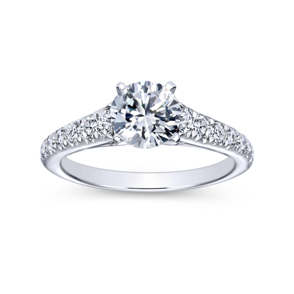 14K white gold contemporary engagement ring has a classic look with its straight styled band and graduated diamonds Image 5 The Ring Austin Round Rock, TX