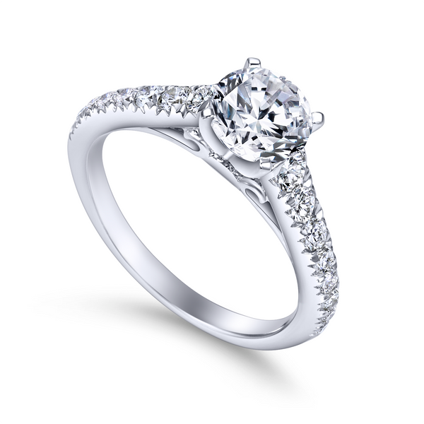 14K white gold contemporary engagement ring has a classic look with its straight styled band and graduated diamonds The Ring Austin Round Rock, TX