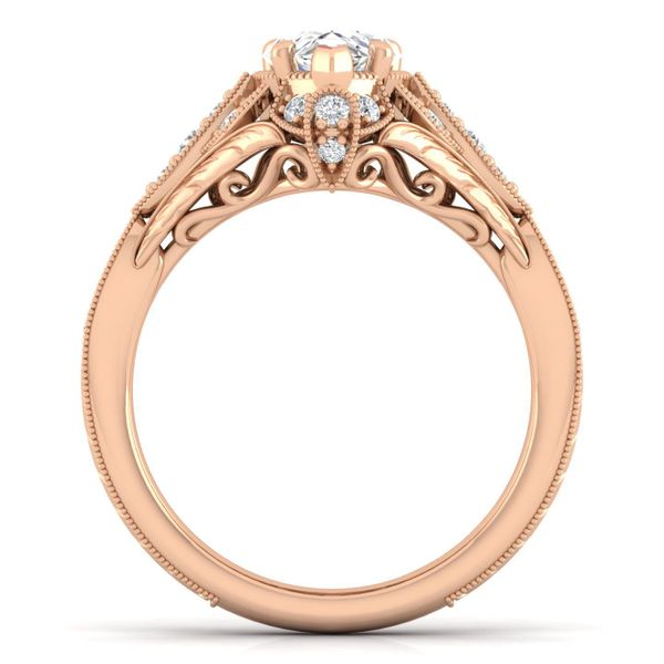 Vintage 14k Rose Gold Pear Shape Halo Diamond Engagement Ring Image 3 The Ring Austin Round Rock, TX