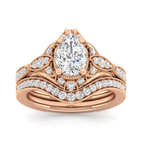 Vintage 14k Rose Gold Pear Shape Halo Diamond Engagement Ring Image 4 The Ring Austin Round Rock, TX