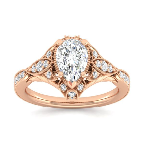 Vintage 14k Rose Gold Pear Shape Halo Diamond Engagement Ring Image 5 The Ring Austin Round Rock, TX