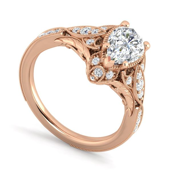 Vintage 14k Rose Gold Pear Shape Halo Diamond Engagement Ring The Ring Austin Round Rock, TX