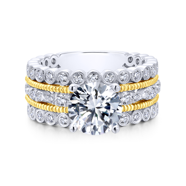 14k Yellow/white Gold Round Straight Diamond Engagement Ring Image 2 The Ring Austin Round Rock, TX