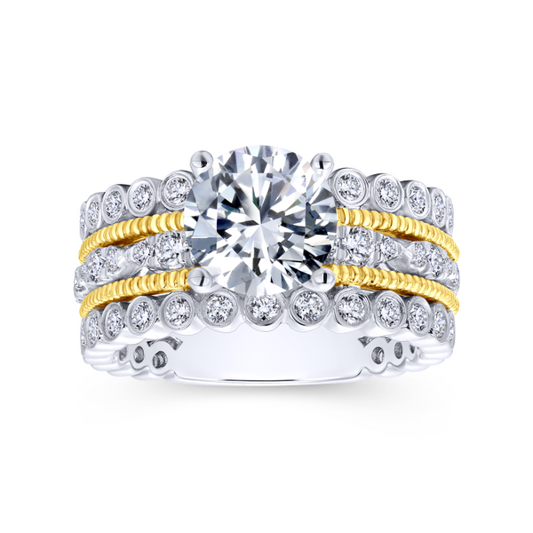 14k Yellow/white Gold Round Straight Diamond Engagement Ring Image 5 The Ring Austin Round Rock, TX