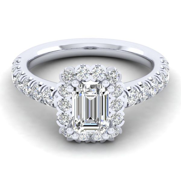 14k White Gold Emerald Cut Halo  Diamond Engagement Ring Image 2 The Ring Austin Round Rock, TX