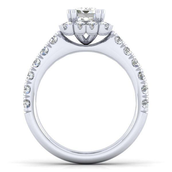 14k White Gold Emerald Cut Halo  Diamond Engagement Ring Image 3 The Ring Austin Round Rock, TX