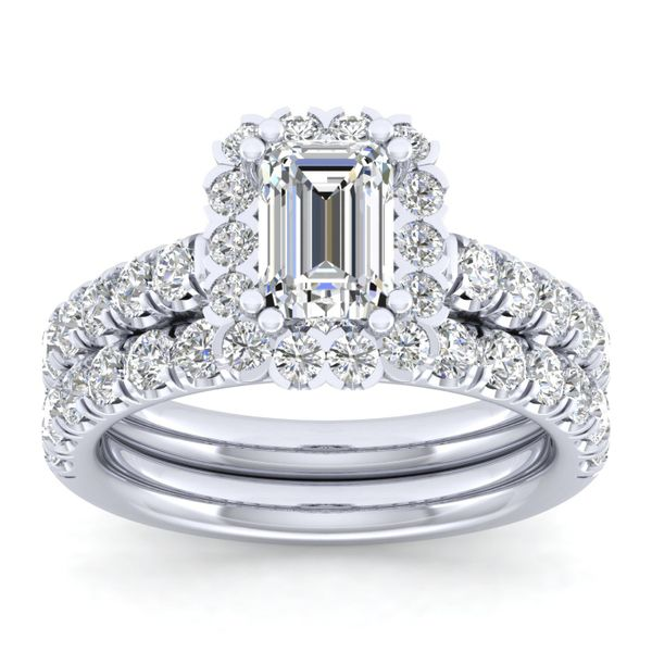 14k White Gold Emerald Cut Halo  Diamond Engagement Ring Image 4 The Ring Austin Round Rock, TX