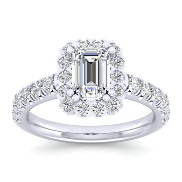 14k White Gold Emerald Cut Halo  Diamond Engagement Ring Image 5 The Ring Austin Round Rock, TX