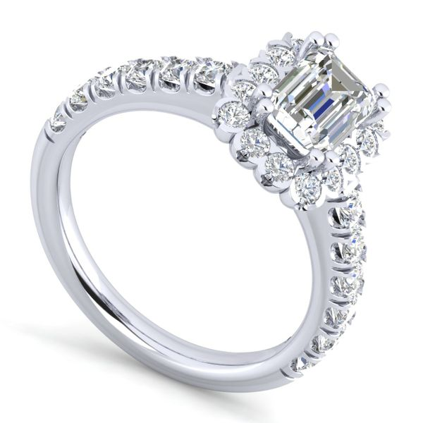 14k White Gold Emerald Cut Halo  Diamond Engagement Ring The Ring Austin Round Rock, TX