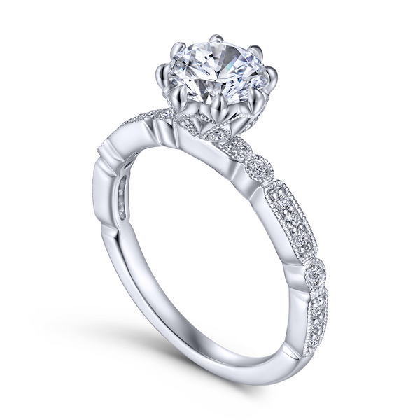 Vintage 14k White Gold Round Straight Diamond Engagement Ring The Ring Austin Round Rock, TX