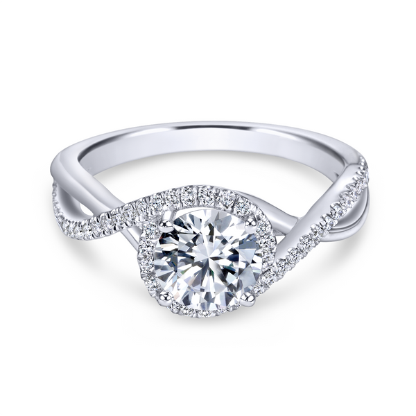14k White Gold Round Twisted Diamond Engagement Ring Image 2 The Ring Austin Round Rock, TX