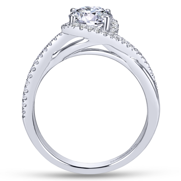 14k White Gold Round Twisted Diamond Engagement Ring Image 3 The Ring Austin Round Rock, TX
