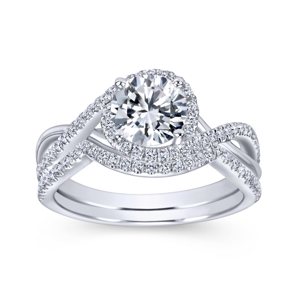 14k White Gold Round Twisted Diamond Engagement Ring Image 4 The Ring Austin Round Rock, TX