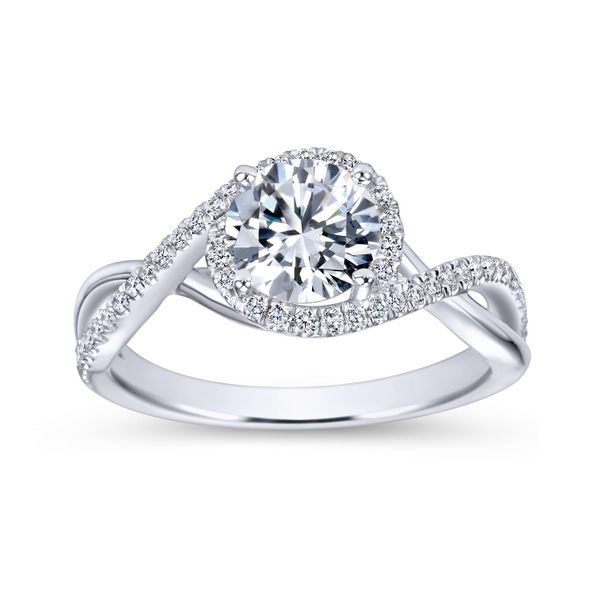 14k White Gold Round Twisted Diamond Engagement Ring Image 5 The Ring Austin Round Rock, TX