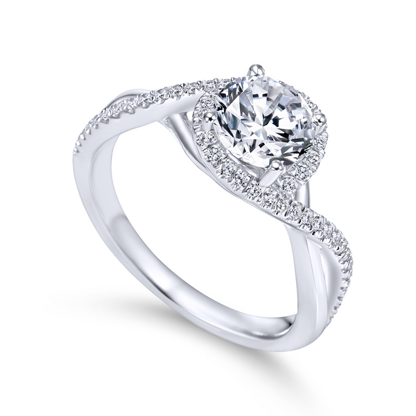 14k White Gold Round Twisted Diamond Engagement Ring The Ring Austin Round Rock, TX